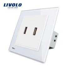 Livolo UK Standard Two Gang USB Plug Socket / Wall Outlet VL-W292USB-11