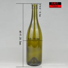Runde Form 750ml Grün oder klar Bordeaux Glas Weinflasche Fertig Stock