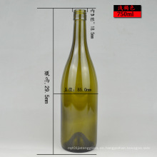 Forma Redonda 750ml Verde o Claro Botella de Vino de Vidrio de Burdeos Listo Stock