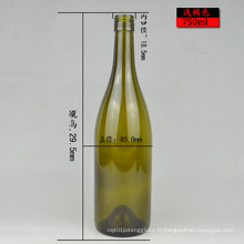 Forme ronde 750ml Bouteille de vin en verre bordeaux vert ou clair Stock prêt