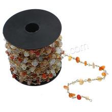 2016 Gets.com chaîne de perles en pierres précieuses en gros, chaîne en perles d'agate, avec bobine en plastique et laiton, plaqué, naturel et mainmadegate