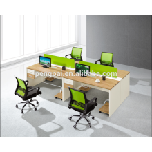 Green partition 4 person staff desk 01