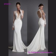Vestido de novia de sirena de manga larga de encaje transparente lujoso con espalda de ventilador