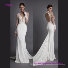 Vestido de casamento de sereia de manga longa de laço transparente luxuoso com ventilador de volta