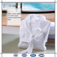 100% tela de terciopelo de algodón Super suave y cómodo albornoz para el hotel utilizado