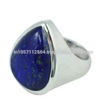 Lovely Lazuli Lapis Edelstein mit 925 Sterling Silber Birne Design Band Ring für Geschenk