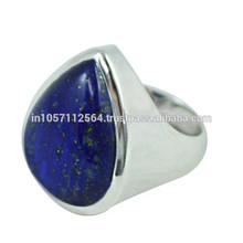 Lovely Lazuli Lapis Gemstone avec 925 Sterling Silver Pear Design Band Ring pour cadeau