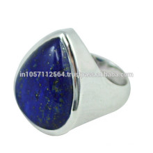 Lovely Lazuli Lapis Gemstone with 925 Sterling Silver Pear Design Band Ring for Gift