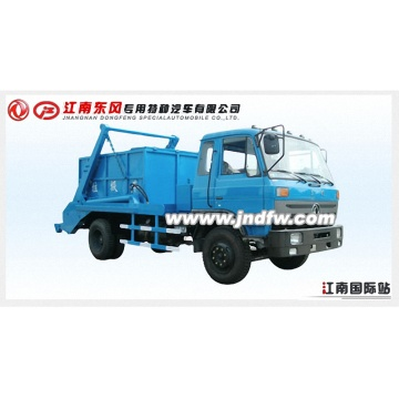recycle rear lift garbage truck picking up trash