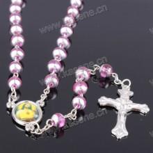 6 milímetros de cozimento verniz cor de rosa Rosário de vidro, religioso Rosário Católico Beads