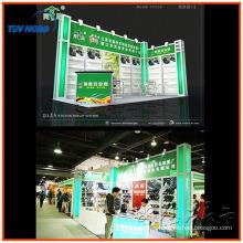 exhibidores de stands comerciales de dos paredes con exportación en forma de L al exterior de perfil de listones y aluminio
