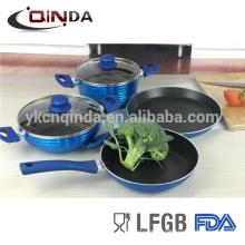 6pcs non-stick metallic coating cookware sets