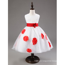 hot sale baby girls party wedding dress/appliqued floral girls dress red