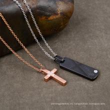 Colgante cruzado con colgante cruzado en forma de corazón de oro rosa de Wholsale