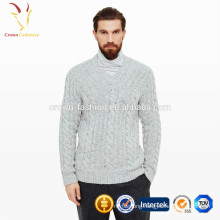 Mens V Neck Cable Knit Cashmere Sweater