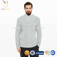 Mens V Neck Cable Malha Cashmere Sweater