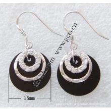 Gets.com 215 anneaux d'oreille de mode en argent 925 en agate noire