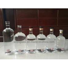750ml 700ml Botellas de vidrio espirituosas de vino blanco con tapón de corcho Acabado