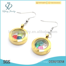 Latest design round gold plain 316l stainless steel floating locket earrings jewelry