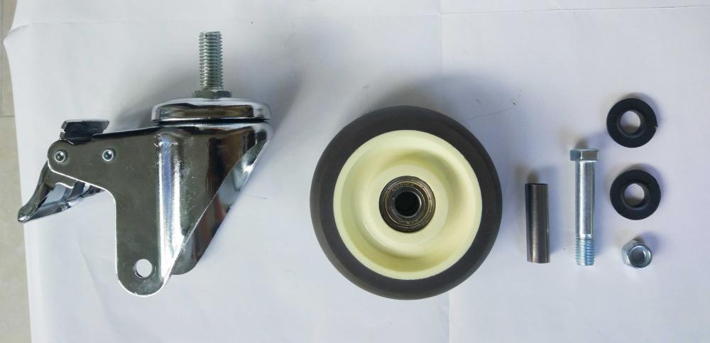 Parts Of 4 Tpr Thread Stem Brake Caster Wheel