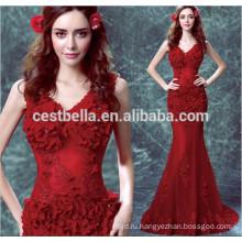 Шикарные сексуальные Sleeveles длинные мода Красный Русалка вечернее платье