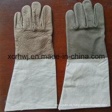 """14 """"guantes de soldadura sin forro, guantes de cuero con pun ¢ o de lona, un grado Guantes de soldadura sin forro de cuero de vaca de grano, buena calidad Guante de soldador de cuero de grano de vaca"""
