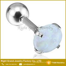 16 Gauge Prong Set Opal Sparkle Cartilage Tragus Earring Surgical Steel Helix Labret