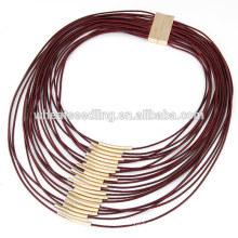 OL Exquisita cera de múltiples capas termina el cordón del collar