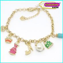 2016 Custom Made Lovely Enamel Charms Gold Bracelet for Girls