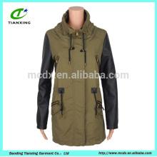 Горячие продажи весной постирала пальто с кожаным рукавом зеленый женщин
