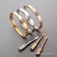 Wholesale Custom AAA Couple Love Bangle Cross Engraved Stainless Steel Screw Bracelet for Men Women