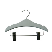 White Kids Pants Hanger with Metal Clips