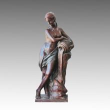 Estatua Grande Desnuda Señora Fuente Escultura De Bronce, Milo Tpls-009