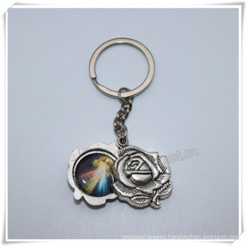 Hot Sell Big Religious Metal Rose with Images Key Chain, Catholic Key Holder (IO-ck110)