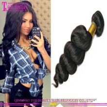 O cabelo não processado do Virgin da categoria 6A por atacado não costura no cabelo humano brasileiro da onda fraca