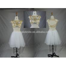 Shinning rebordear dos piezas corto Tulle vestido de fiesta de baile con la espalda abierta