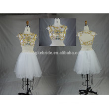 Shinning Beading Two Pieces Short Tulle Prom Party Dress with Open Back