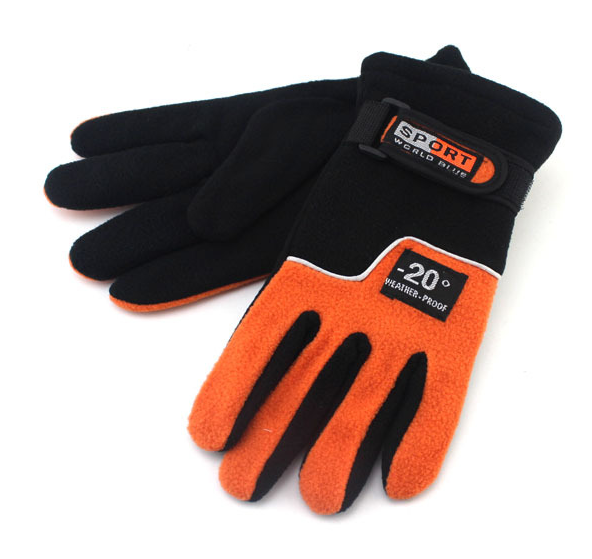 Double Layer Polar Fleece Gloves Orange