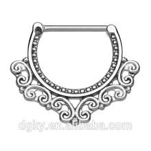 Corações tribais filigrana barbeador piercing barriga de aço cirúrgico barriga barra de bronze corpo bocal bar clicker ring