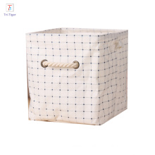 Cloth Storage Cube Basket Bins Cotton Linen Foldable Organizer Containers Handle Beige desk organizer box