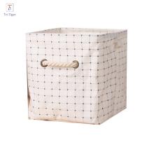 Armazenamento de pano Cubo Cesta Cestas de Algodão de Linho Dobrável Organizador Recipientes Lidar Com caixa organizador Bege mesa