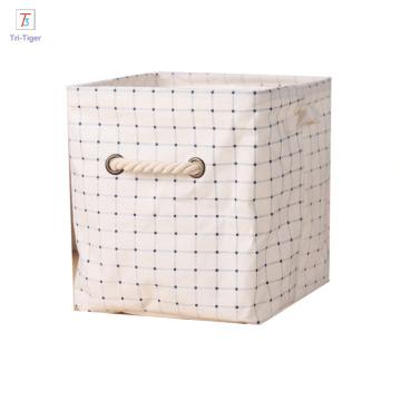 Cloth Storage Cube Basket Bins Cotton Linen Foldable Organizer Containers Handle Beige desk organizer box