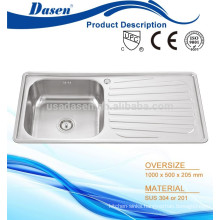 Inox one piece molded kitchen sink overflow Foshan factory