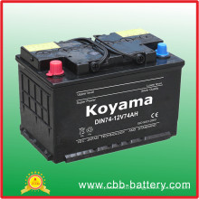 74ah 12V European Standard Vehicle Battery/ Accumulater