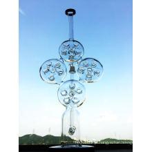 Swiss Biscuit Tubo de Água de Vidro Reciclagem de Tubo de Fumo Inliner Perc Glass Water Pipe