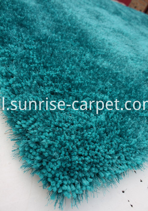 Thick Soft & Silk mix Shaggy crapet Rug Blue