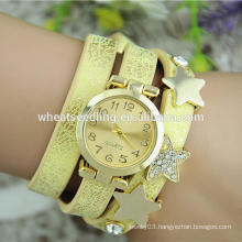 customized shiny PU leather women bracelet time hot star watches