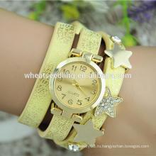 Подгонянные солнечные кожаные женщины женщин браслета время горячих звезд часы