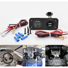 Carregador de Tomada USB Dupla À Prova D 'Água Barco Marinho e Azul Voltímetro W / Jumper Fio