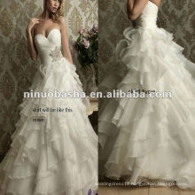 Organza and Satin as Lining Unregular Levels Skirt Wedding Dress